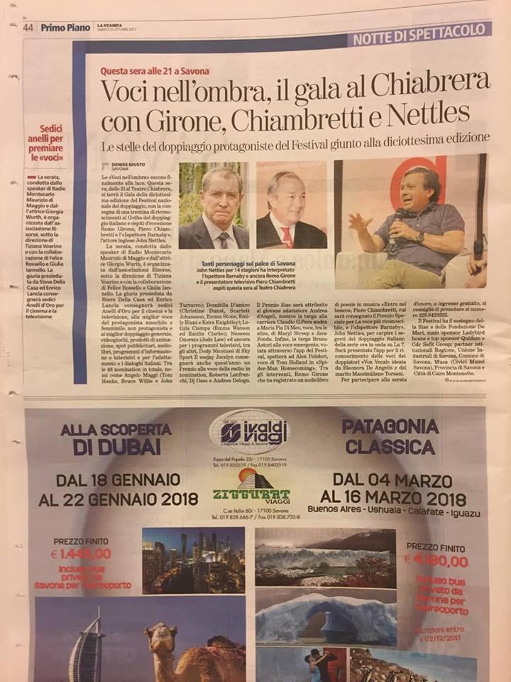 La Stampa   sabato 21 ottobre 2017
