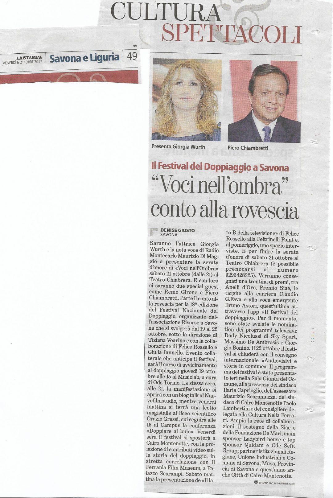 La Stampa | venerdì 6 ottobre 2017