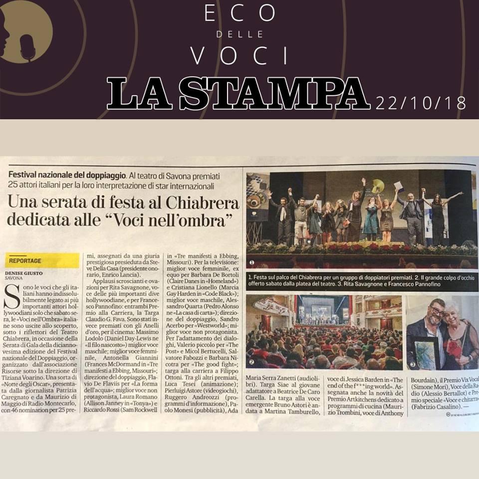 La Stampa | lunedì 22 ottobre 2018